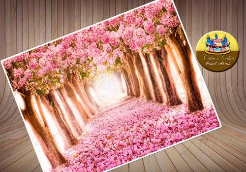 Imagem 1 de 1 de Floresta Rosa Encantada Papel De Arroz A4 Para Bolo