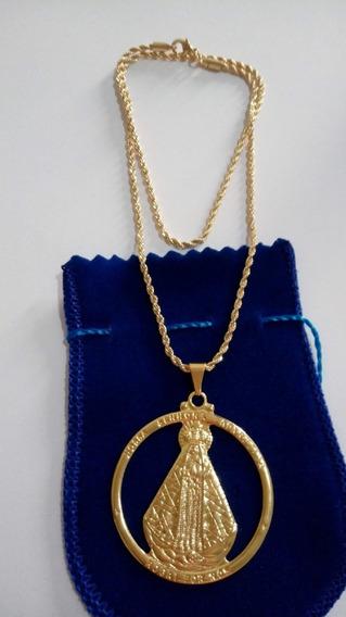 Colar Cordão 45cm Com Medalha De Aparecida Com Banho De Ouro