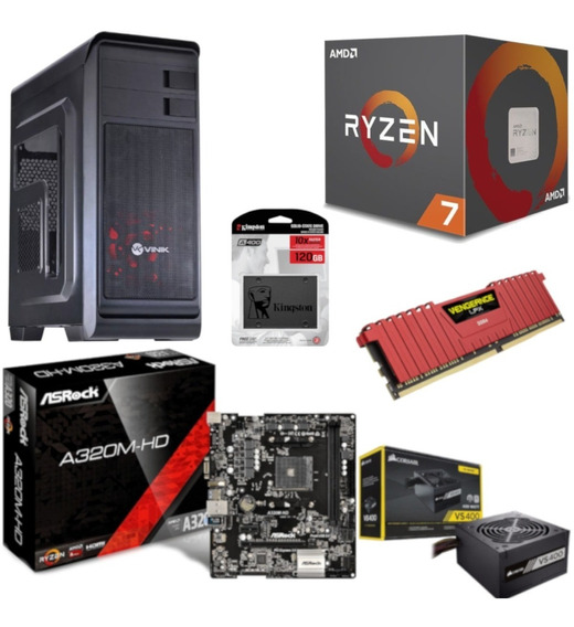 Pc Hunter Ryzen R7 2700 A320m Hd Vg 8gb Vs400 Ssd 120gb