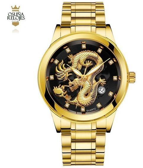 Relógio Feminino De Dragao Luxo Dourado Bosck 8888