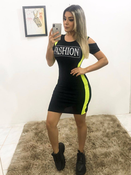 Vestido Curto Com Estampa Lateral Neon Fluorescente 2020