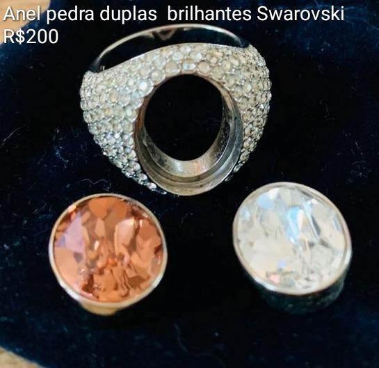 Anel Swarovski Brilhantes Com Pedra Dupla