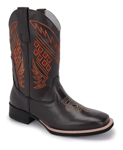 Bota Texana Masculina Bico Quadrado Cano Alto Tabaco Bull550