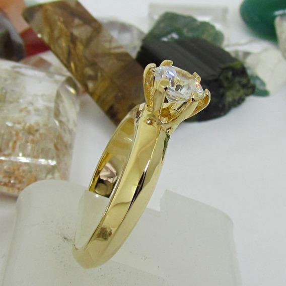 Anel Aliança Solitario Estilo Tiffany Ouro Prata Ojoalheiro