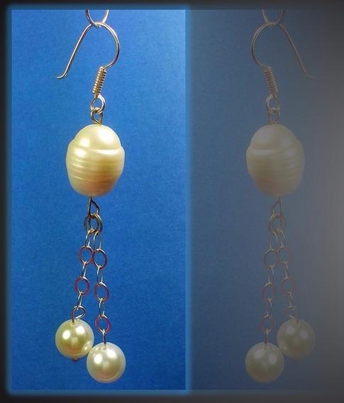 Arete Pendiente Con Perla Cultivada Gigante En Plata .925