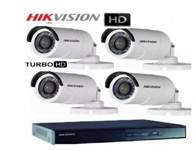 Kit Dvr 4 Ch + 04 Cameras 15 Mt Turbo Hdtvi 720 P Hikivision