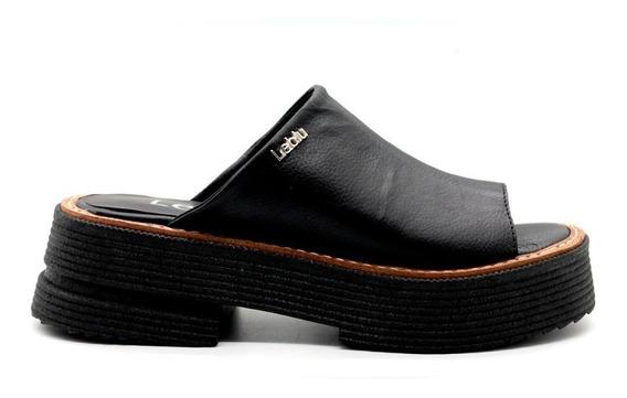 Zapatos Mujer Sandalias Cuero Negro Bajas Urbanas Leblu 865