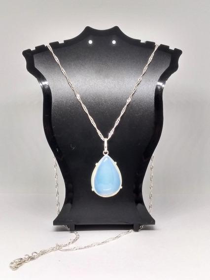 Colar Pedra Da Lua Opalina Prata De Lei + Brinde Surpresa