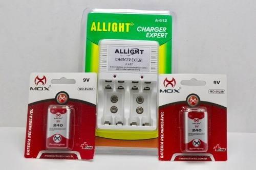 Kit Carregador Pilhas + 2 Bateria 9v Recarregavel Nova Mox