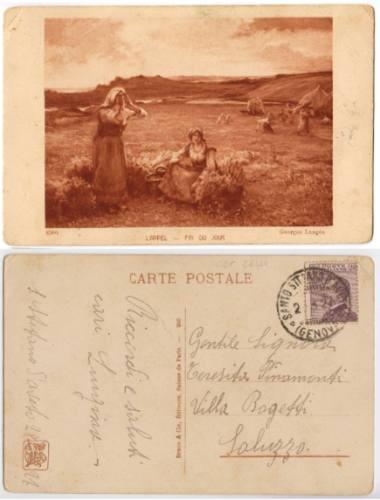 Italia 1927 Postal Pintura Fin Du Jour De Geoges Laugee
