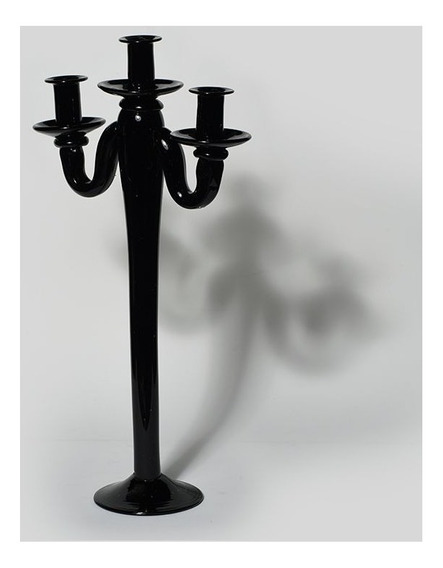 Castiçal De Vidro Black Motion 3 Velas Decorativo