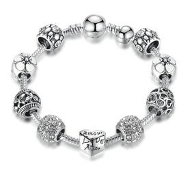 Pulseira Bracelete Feminino Prata Bijuteria Berloques