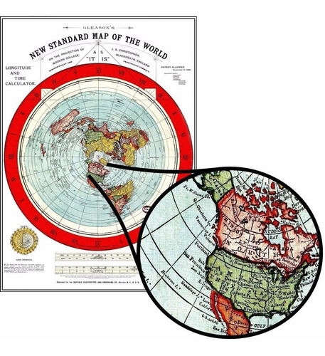Mapa Gleason 60cmx84cm Terra Plana Vintage Enfeite Para Sala
