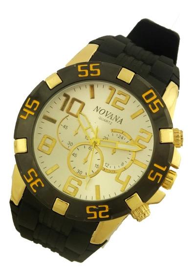 Relógio De Pulso Masculino Novana Pulseira Em Borracha B5716