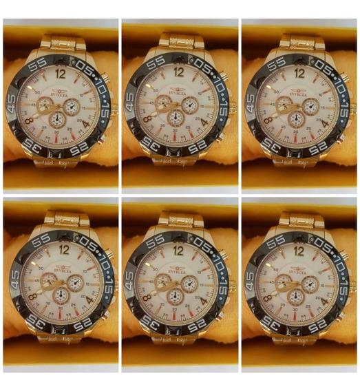 Kit C/5 Relógios Masculino Dourado Atacado Revenda +caixas