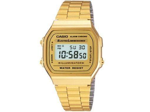 Relógio Pulso Dourado Unisex Retrô Vintage