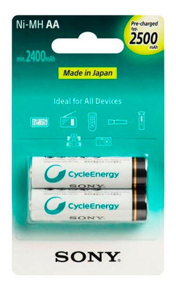 Pilhas Recarregáveis Aa 2500mah Cartela C/ 2 - Sony