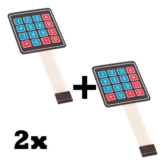 Kit 2x Teclado Membrana Matricial 4x4 16 Teclas - Arduino