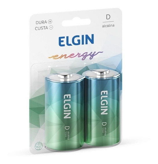Pilha Tipo D Alcalina Elgin | Blister C/ 2 Pilhas