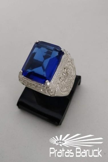 Anel Dedeira De Prata Com Pedra Azul + 02 Brindes