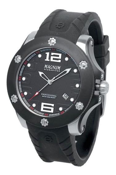 Relógio Magnum Masculino Original Preto Ma30865t Mergulho