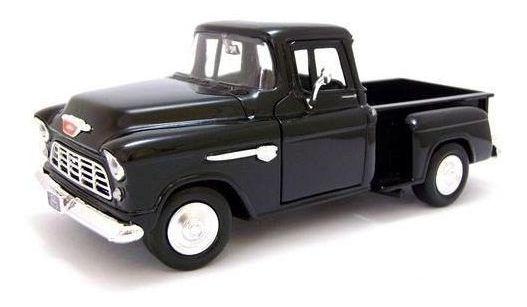 1955 Chevrolet Stepside Pickup Preto - 1:24 - Motormax