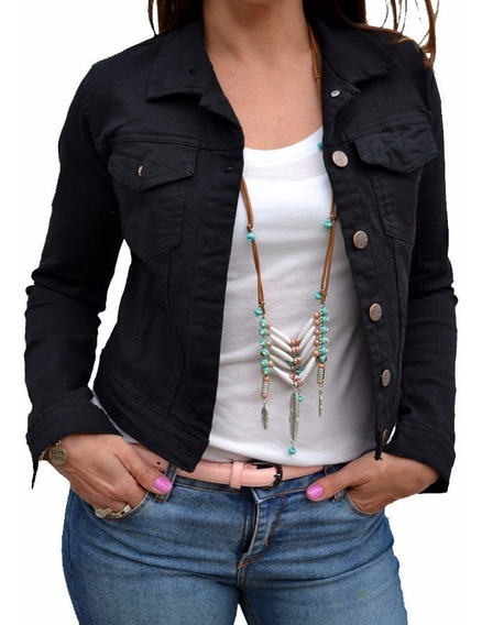 Campera De Jean Blanca Negra Rosa Verde Mujer The Big Shop