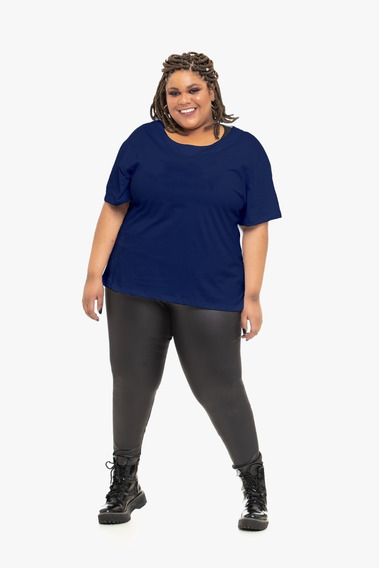 Camiseta Plus Size Wonder Size Básica Malha Azul Marinho