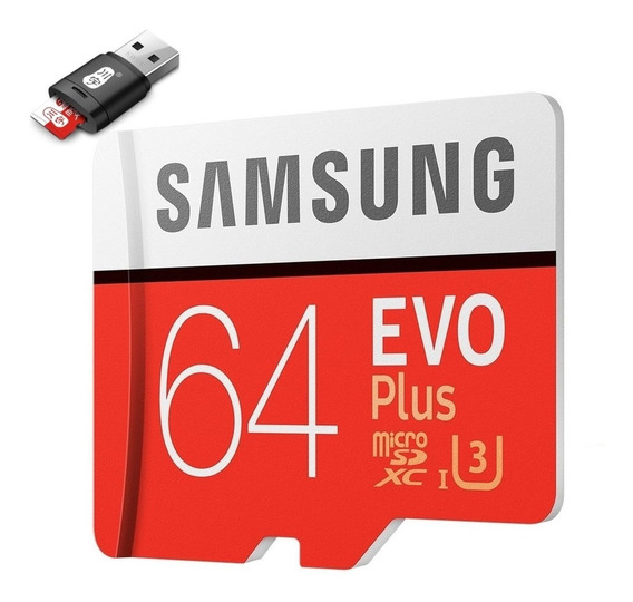 Micro Sd Samsung Evo Plus 64gb 4k 100mb/s + Adaptador Usb