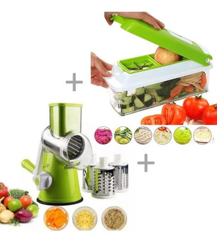 Imagem 1 de 10 de Cortador Nicer Dicer 11em1 E Ralador Manivela Legumes Frutas