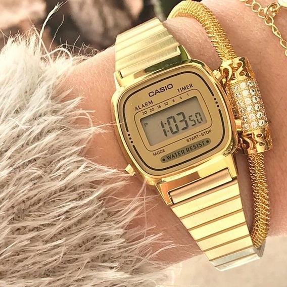 Relógio Casio Vintage Digital Mini Dourado La670