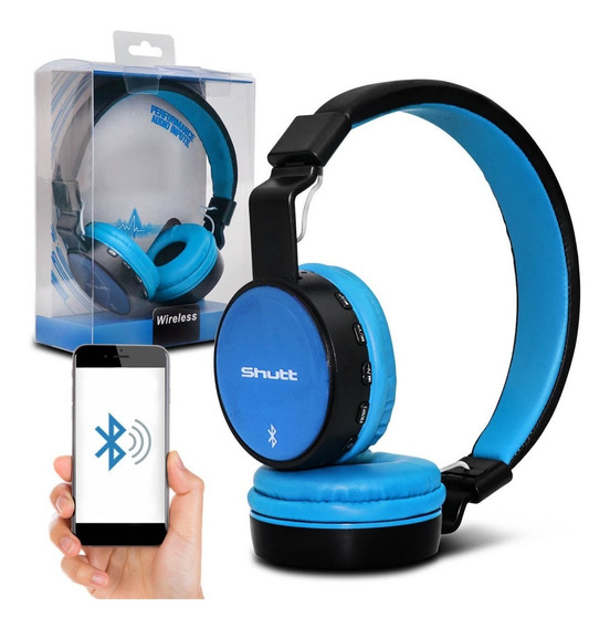 Fone De Ouvido Headphone Full Wireless P2 Azul Claro Shutt