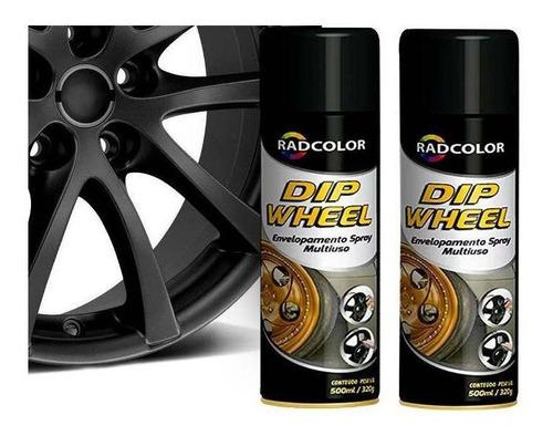 Tinta Spray Envelopamento Liquido Dip Wheel 500ml 2 Un Preto