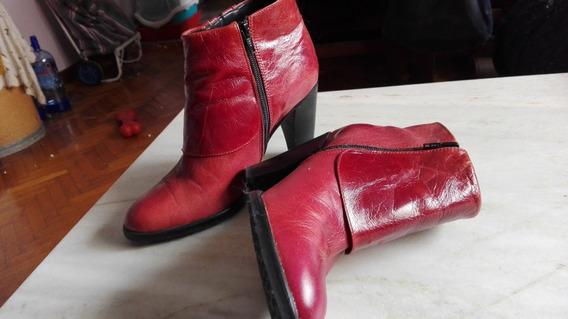 Botas Cortas De Mujer 39 De Cuero Bordeaux Marca Clona