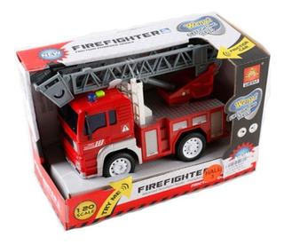 Camión Bombero Mediano A Fricción C/luz Y Sonido 1419117 Ef