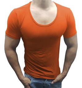 Camisa Masculina Slim Básica Gola U Canoa Manga Curta