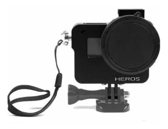 Frame Case Alumínio+lente Uv Gopro 5 Black - Imp. Hero 5