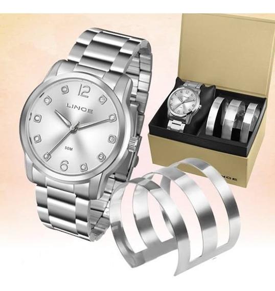 Relógio Lince Feminino Aço Kit Bracelete Lrm4391l
