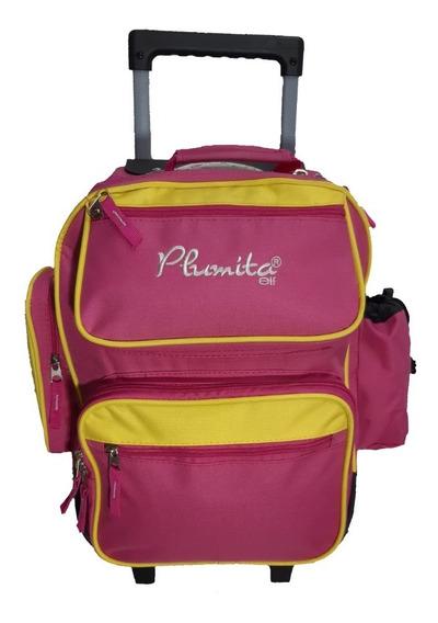 Mochila Elf Plumita 6803 Rosa Con Amarillo