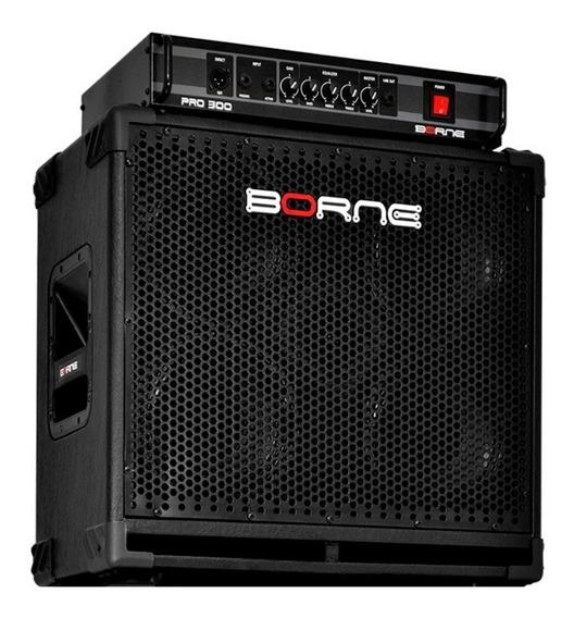 Kit Borne Cabeçote Pro 300 E Caixa Pro408 4 Falantes 8 Baixo
