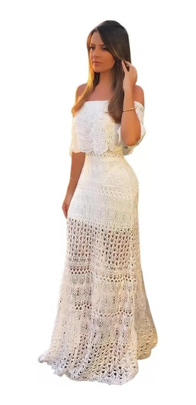 Vestido Longo Ciganinha Feminino Croche Casamento Festas Top