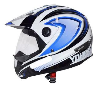 Capacete Cross Trail Sport C/ Viseira Branco Azul Tamanho 60