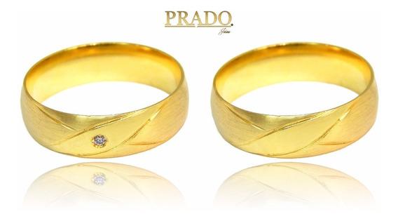 Par De Alianças Em Ouro 18k Trabalhada Com Diamante