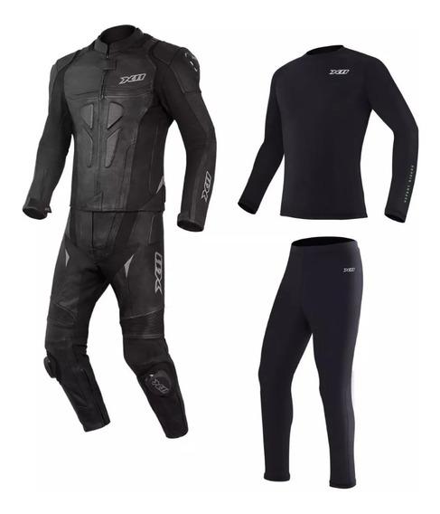 Macacão Speed 2 Couro X11 + Blusa E Calça Segunda Pele Moto