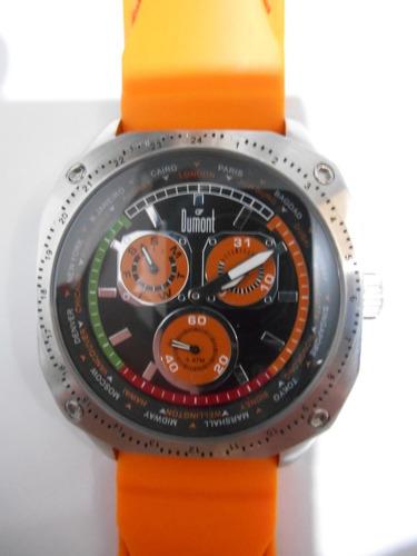 Relógio Dumont Multifunção - Robusto Pulseira Laranja