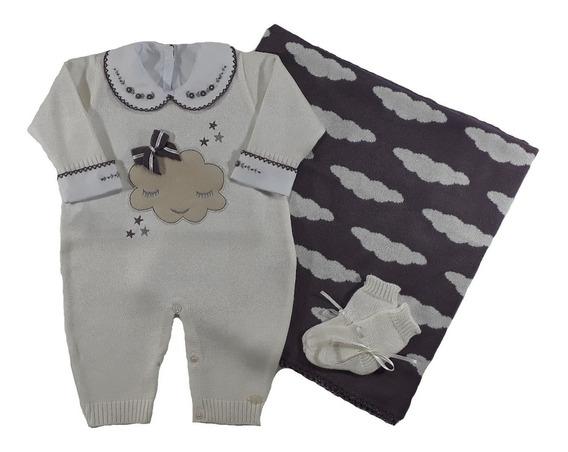 Kit Saida Maternidade Menina Com Body + Sapatinho + 2 Peças Nuvem - Uva Ou Papaia