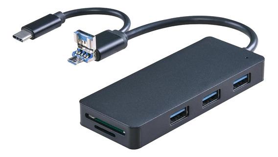 Hub Usb 3.0 Multi-port, Tipo-c+leitor De Cartão Micro Usb S