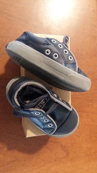 Zapatillas Mimo Cuero Azul Talle 22 Como Nuevas