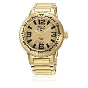 Relógio Everlast Masculino Caixa E Pulseira Aço Dourado E586