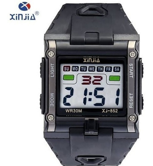 Relógio Masculino Digital Xinjia-852 Cinza Quadrado Oferta